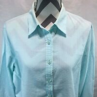Foxcroft Shaped Fit Light Blue Textured Striped Shirt Button Front Blouse 16 LL5