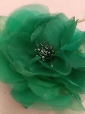 Vintage Millinery Large Flower - Green Silk Petals - Hand Dyed Green Pistils