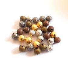 30 Metallperlen STARDUST 8mm Rund Perlen MIX  Spacer Schmuck Sternenstaub