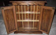 Wooden Oak Table/Wall Mini Curio Display Cabinet w/Doors-Brass Knobs