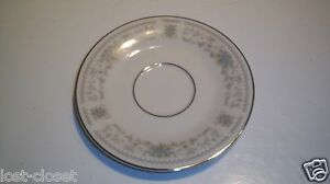 """Nitto Hanover 6"""" Saucer Plate White Blue Silver Floral Dish 4867 @ cLOSeT"""