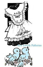 Vintage Pinafore Pattern Girl Applique Embroidery Transfer Size 2 4 6 - Birds