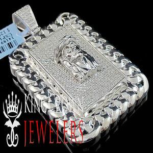 Mens 10K White Gold Finish Miami Cuban Frame Genuine Diamond Jesus Face Pendant