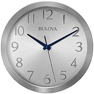 "Bulova Winston 9"" Quartz Aluminum Case Quiet Sweep Wall Clock C4844"