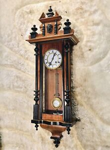 RARE Antique Germany M&D Wall Striking Vienna  Clock,Walnut Case & Pendulum