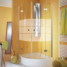 Viertelkreis Duschkabine 80x80 cm Runddusche Glas Drehtür Dusche Duschabtrennung