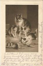Katze, Katzenfamilie auf des Malers Farbpalette, alte Ak von 1910, cat, chat