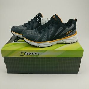 NWB S Sport by Skechers Ixnay Athletic Shoes - Black Orange/White Boys Size 2