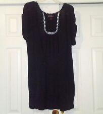JJ Basics Womens Sweater Vest Size M Long Black Roll Cap Sleeves