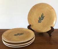 Set Of 4 Bionda Bruna Salad Plates Handmade Italy Yellow Ochre Olive Branch