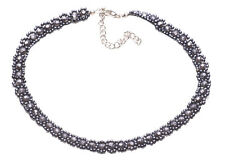 Opulent & Trendy Gun Metal Beads Flower & Adjustable Choker Necklace(Zx148)
