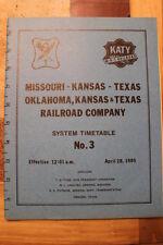 MISSOURI KANSAS TEXAS-OKT SYSTEM EMPLOYEE TIMETABLE #3  APRIL 28,1985-MINT