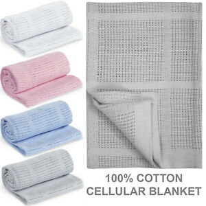 100% Cotton Cellular Baby Blanket Newborn Moses Basket Crib Pram Buggy Cot Bed