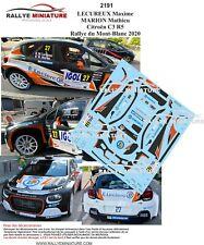 DECALS 1/43 REF 2191 Citroën C3 R5 LECUREUX Rallye du Mont-Blanc 2020