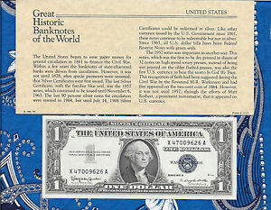 Great Historic Banknote United States 1957-B $1 Silver Certificate X-A UNC P419b