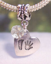 Hand Print Footprint Heart April Birthstone Baby Dangle Charm for Euro Bracelets