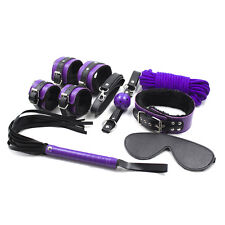 8PCS Black/Purple Heavy Pu Leather Faux Fur Bondage Set Kit Cuffs Whip Collar