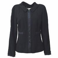 Authentic CHANEL Vintage CC Logos Long Sleeve Jacket Black Wool #38 AK31581