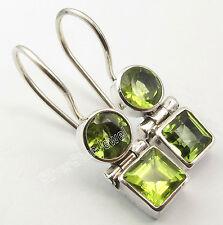 """925 Silver Genuine PERIDOT Earrings 1"""" SEMI PRECIOUS GEMSTONE NEW"""