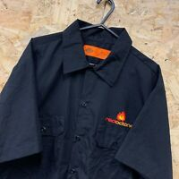 Vintage Dickies Black Short Sleeved Canvas Workwear Shirt Size Large L
