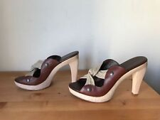 Cynthia Vincent brown leather metallic canvas slide wooden mules sandal 7M