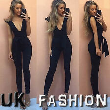 UK Womens Deep Plunge Tie High Waisted Party Ladies Jumpsuits Trousers Size 6-14