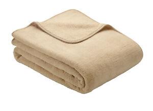 Sand Natural Ibena S.Oliver Plain Wellsoft Cosy Soft Throw Blanket 150cm x 200cm
