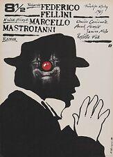 "8 1/2 Silk Fabric Movie Poster 19""x27"" Federico Fellini Czech Polish Rare Art"
