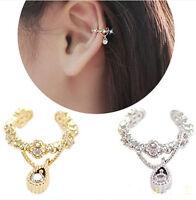 Women Ear Cuff Wrap Rhinestone crystal Clip On Earring Jewelry Gift New 1 piece