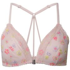 Famous Make Embroidered Pink Mesh Front Fastening Racer Back Bra 32-38 A-DD.