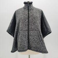 NWT Calvin Klein Black Gray Sherpa Fleece Lined Knit Cape Shawl Womens One Size