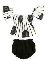 Bilo Baby Girl Flower Stripe Print Off Shoulder Sunsuit With Bloomers 2 Pcs Set