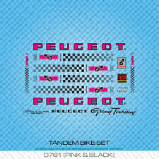 Peugeot Tandem Bicycle Decals - Transfers - Stickers - Pink & Black - Set 761