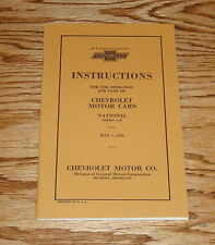 1928 Chevrolet Motor Cars National Series A B Owners Operators Manual 28 Chevy
