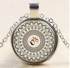 Vintage OM mandala Cabochon Glass Tibet silver Necklace For men woman Jewelry