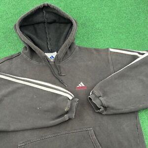 Vintage 90S Adidas Embroidered Trefoil 3 Stripe Logo Hoodie Sweatshirt Mens S
