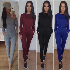 UK Womens 2 Piece Set Skinny Jumpsuit Ladies Long Sleeve Slim Tracksuit Trousers