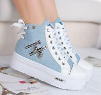 016 ladies Canvas Hidden Wedge High Top Lace Up Platform Sneakers Trainers Shoes