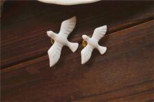 Fashion Punk White Enamel Great Small Swallow Fly Bird Shirt Collar Brooch Pin