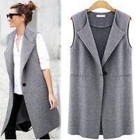 Ladies Women Sleeveless Zip Long Waistcoat Blazer Jacket Vest Coat Top Size 8-18