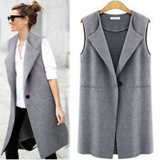 Womens Long Sleeveless Plain Trench Waistcoat Vest Coat Jacket Blazer Outwear