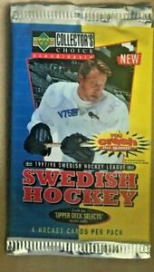 1997-98 UD Collectors Choice Swedish Unopened Hockey card pack. 6 Card pack.