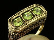R259 Genuine 9ct Yellow Gold NATURAL Peridot BRIDGE Trilogy Ring size P