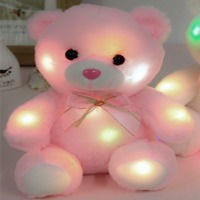 Pink Teddy Bear One Size Soft Cuddly Glow Light up Colour Changing