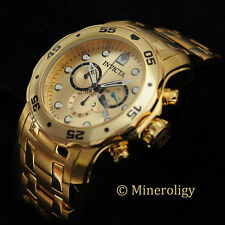 Invicta Pro Diver Scuba 18k GOLD Plated SWISS Chronograph Gold Dial Mens Watch !