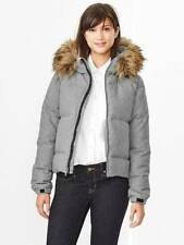 Gap  Fur Trim Down Puffer Jacket Coat sz PXS, Petite XSmall, Heather Grey