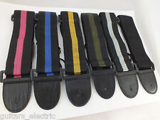 ELECTRIC, BASS or ACOUSTIC GUITAR STRAP in 6 Colours, adjustable & lightweight