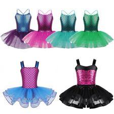 Kids Bbay Girls Sequined Ballet Dance Dress Gym Leotard Lace Tutu Dress Costume
