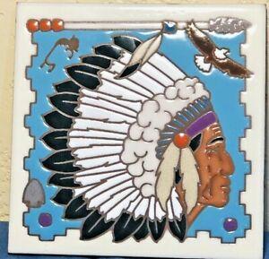 """Masterworks Handcrafted Glazed Tile 6""""X6"""" Southwestern Indian Decor Gift EUC"""