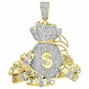 "10K Yellow Gold Fn Diamond Money Bag 100 Dollar Stacks Pendant 1.85"" Charm 1 CT."